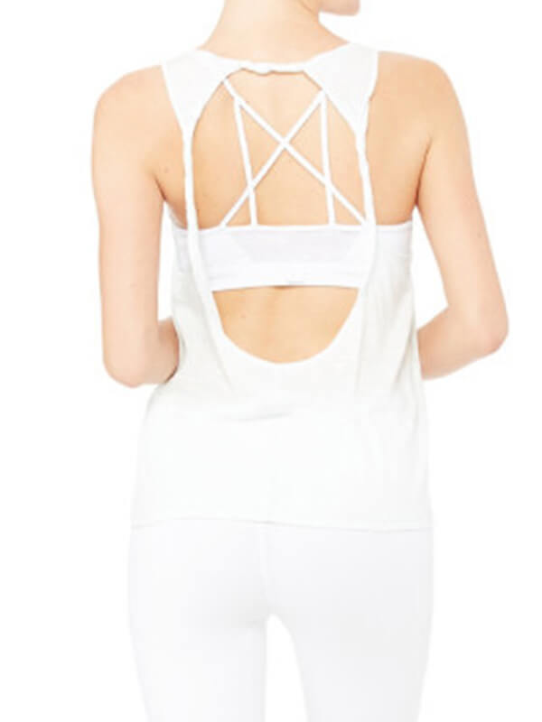 Comfortable Women's Solid Open Back Workout Sports Tank Top White