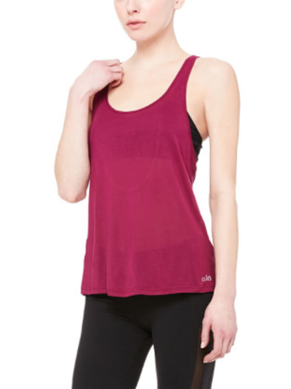 Comfortable Women's Solid Open Back Workout Sports Tank Top Rosy