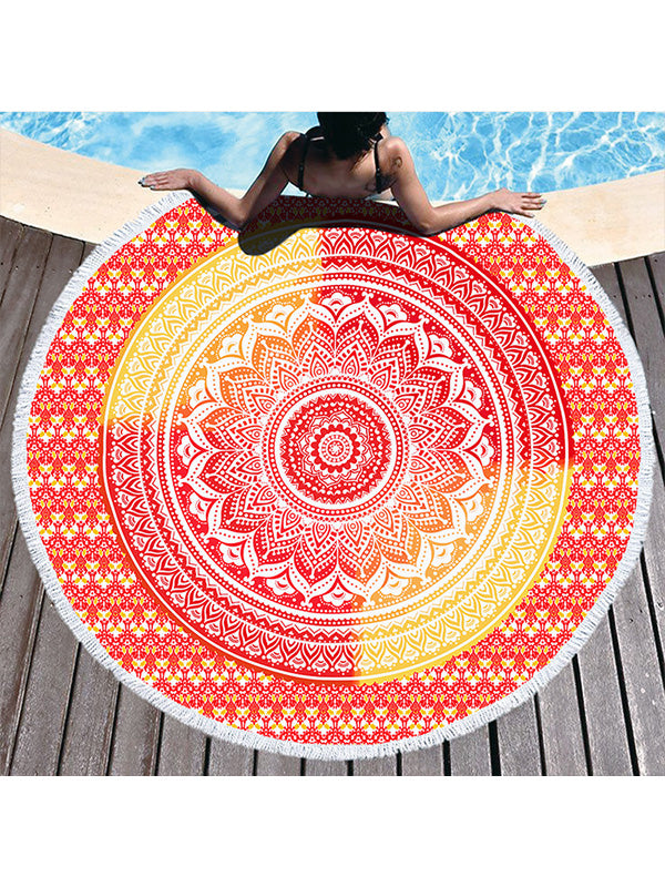 Gradual Color Boho Pattern Tassel Round Beach Towel Red Yellow
