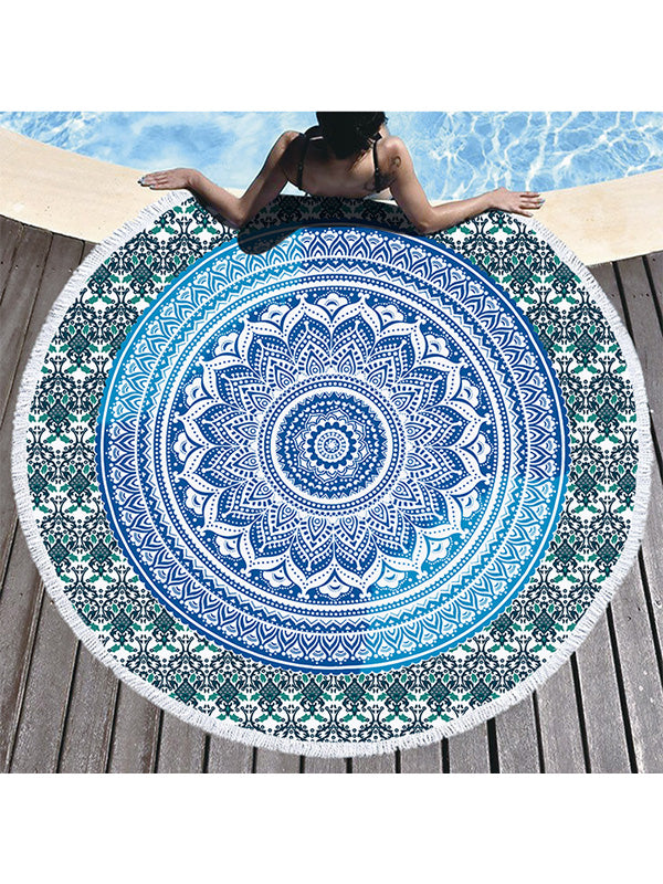 Gradual Color Boho Pattern Tassel Round Beach Towel Light Blue