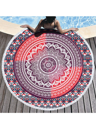 Gradual Color Boho Pattern Tassel Round Beach Towel Red