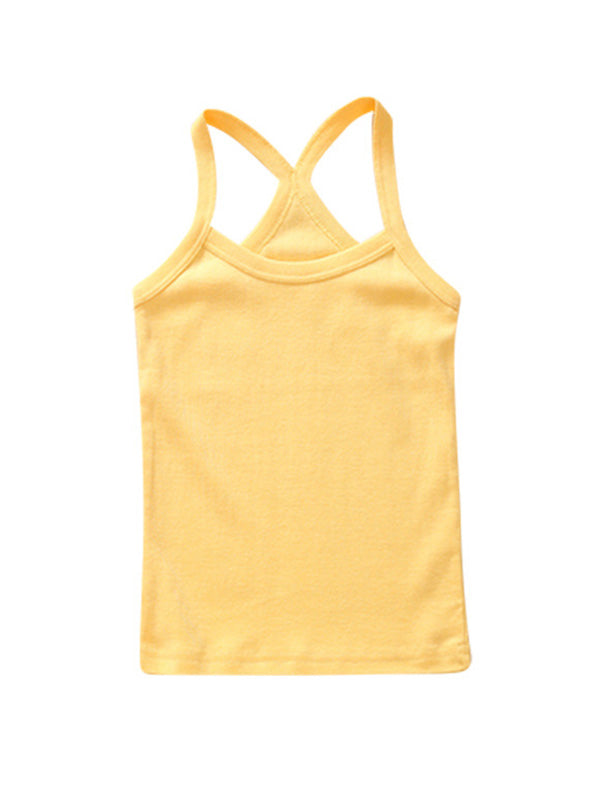 Cute Toddler Kid's Solid-color Sport Tank Top Yellow