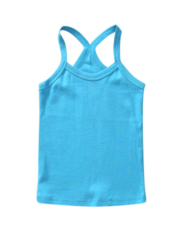 Cute Toddler Kid's Solid-color Sport Tank Top Blue