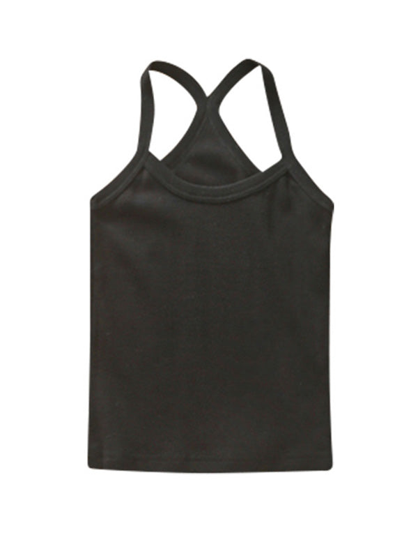 Cute Toddler Kid's Solid-color Sport Tank Top Black