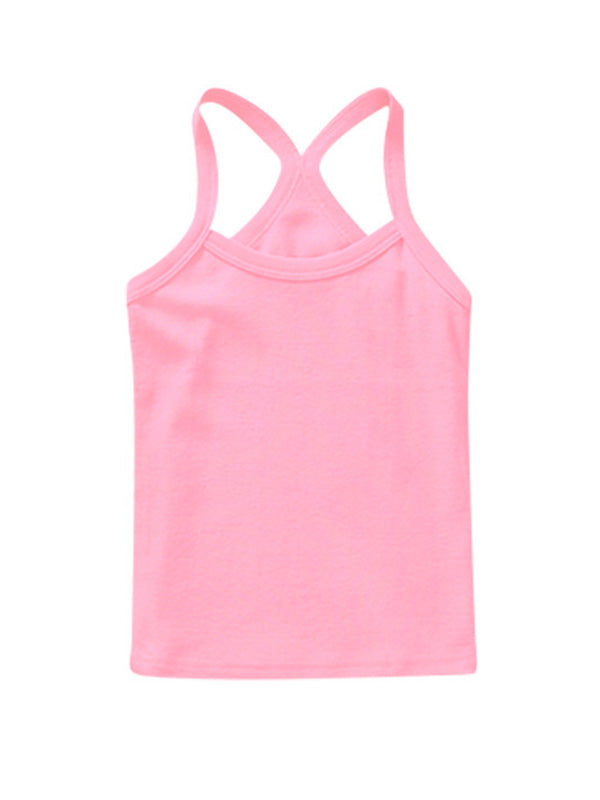 Cute Toddler Kid's Solid-color Sport Tank Top Pink