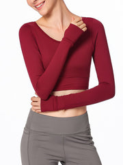 LikeBunny Every Moment Long Sleeve Crop Top