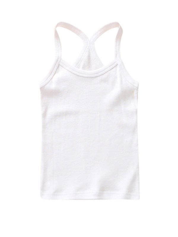 Cute Toddler Kid's Solid-color Sport Tank Top White