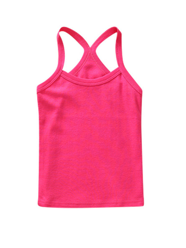 Cute Toddler Kid's Solid-color Sport Tank Top Rosy