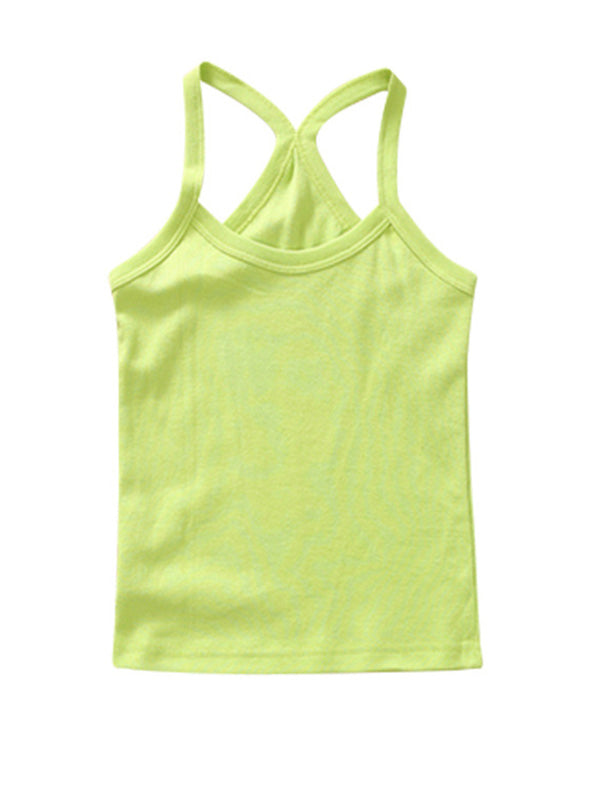 Cute Toddler Kid's Solid-color Sport Tank Top Green