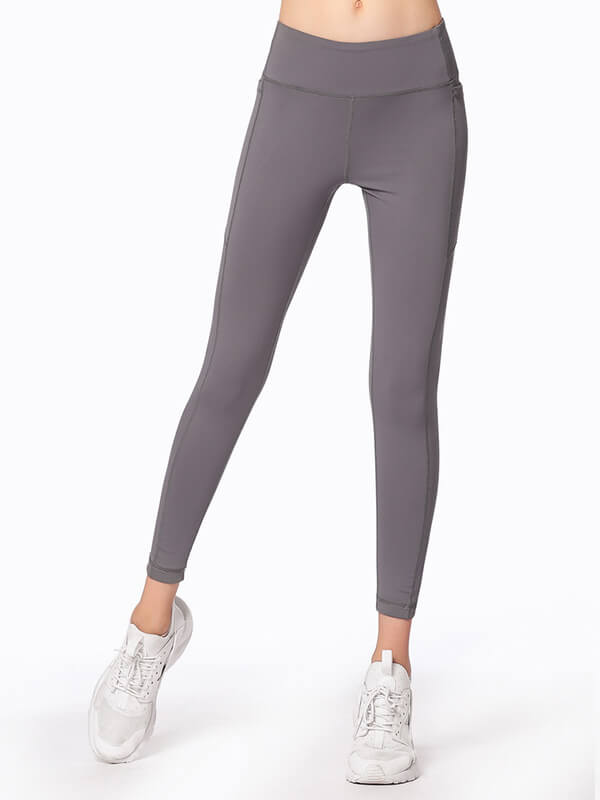 "LikeBunny Tight Sports Leggings with Pocket 28"" Grey"