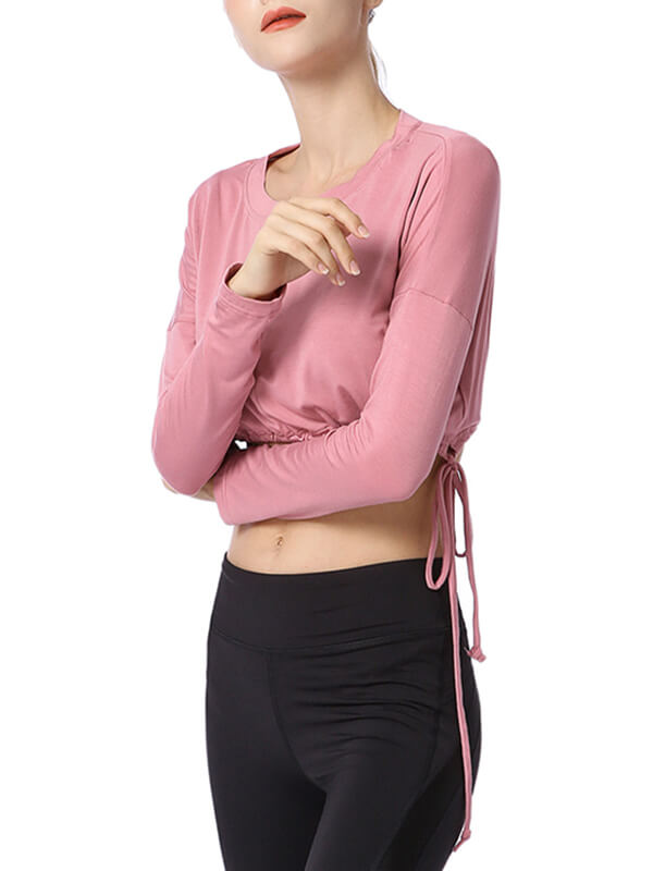 LikeBunny Drawstring Hem Crop Long Sleeve