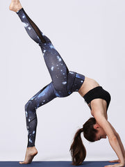 LikeBunny Starry Printed Mix & Mesh High-Rise Tight Sports Leggings