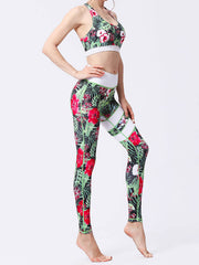 LikeBunne Green Leaves Painted Matching High-Rise Sportswear