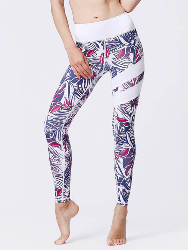 LikeBunny Purple Leaves Painted Matching High-Rise Sportswear