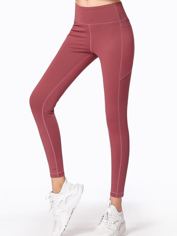 "LikeBunny Tight Sports Leggings with Pocket 28"" Burgundy"