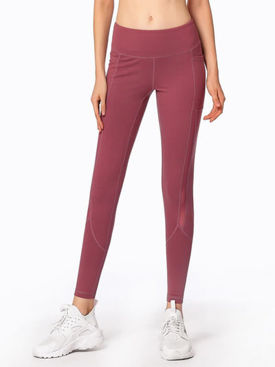 "LikeBunny Mesh-Mix Tight Sports Leggings 28"" Burgundy"