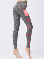 LikeBunny High Waist Grey Sports Leggings with Orange Pocket
