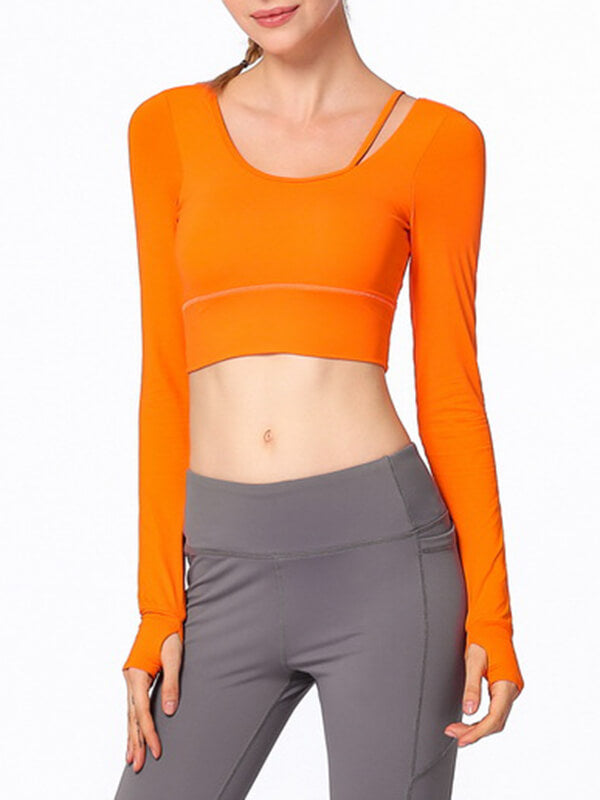 LikeBunny Tie Your Practice Long Sleeve Crop Top