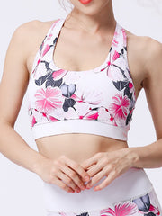 LikeBunne Pink Flowers Painted Matching High-Rise Sportswear - Sports Bra