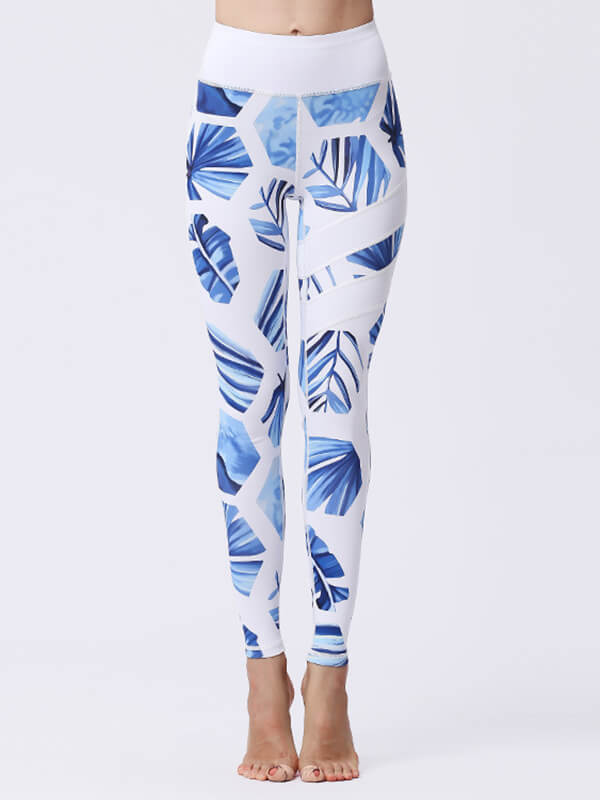 LikeBunny Blue Leaves Painted Matching High-Rise Sportswear