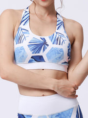 LikeBunne Blue Leaves Painted Matching High-Rise Sportswear - Sports Bra