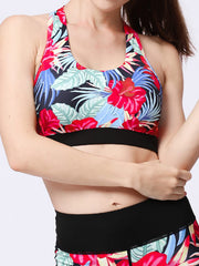 LikeBunne Red Flowers Painted Matching High-Rise Sportswear - Sports Bra