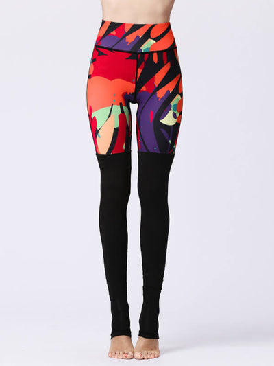 LikeBunny Abstract Painted Fusion Sports Leggings