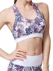 LikeBunne Purple Leaves Painted Matching High-Rise Sportswear - Sports Bra