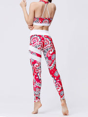 LikeBunne Red Flowers Painted Matching High-Rise Sportswear