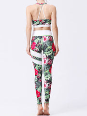 LikeBunny Green Leaves Painted Matching High-Rise Sportswear