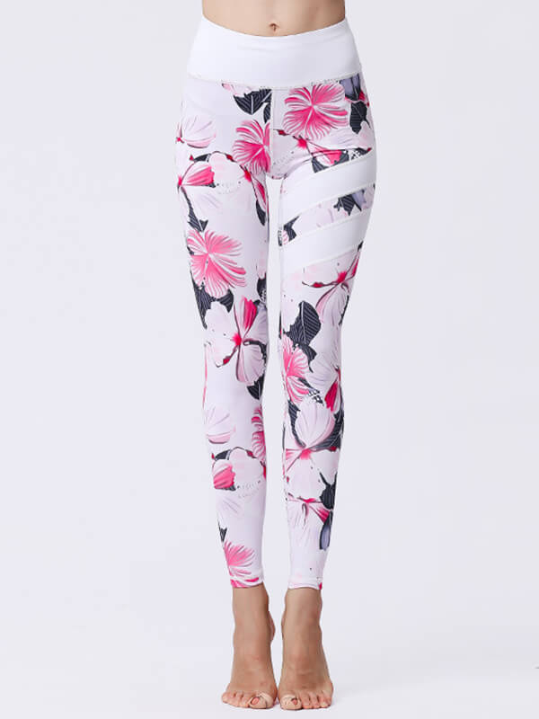 LikeBunny Pink Flowers Painted Matching High-Rise Sportswear
