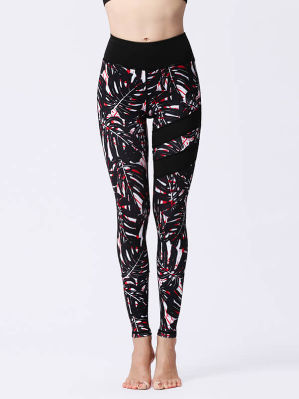 LikeBunny Black Leaves Painted Matching High-Rise Sportswear