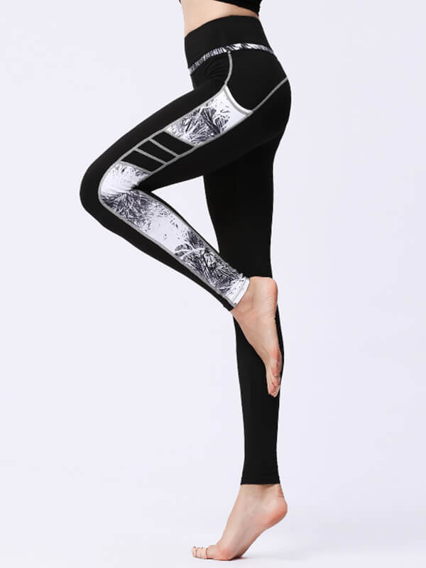 likeBunny High Waist Sports Leggings with Grey Painted Pocket