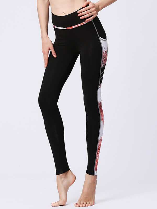 likeBunny High Waist Sports Leggings with Orange Painted Pocket