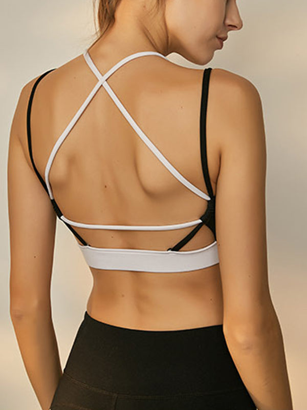 Black & White Women's High Impact Support Workout Sports Bra Cross-strap