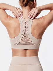 Fashion Women's String Decor High Impact Support Workout Sports Bra Beige