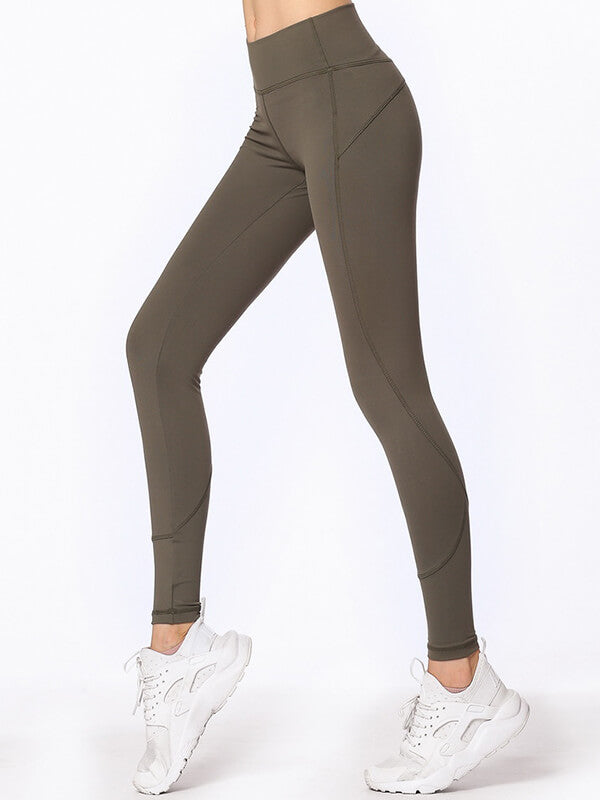 "LikeBunny High-Rise Tight Sports Leggings 28"" Army Green"
