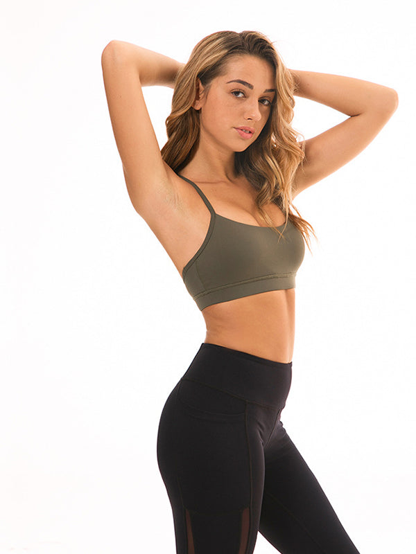LikeBunny Flow Y Bra Medium Impact Sports Bra army green
