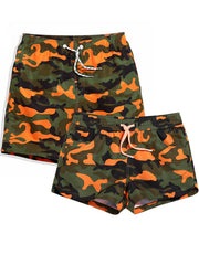 LikeBunny Couple's Orange Camo Beach Shorts
