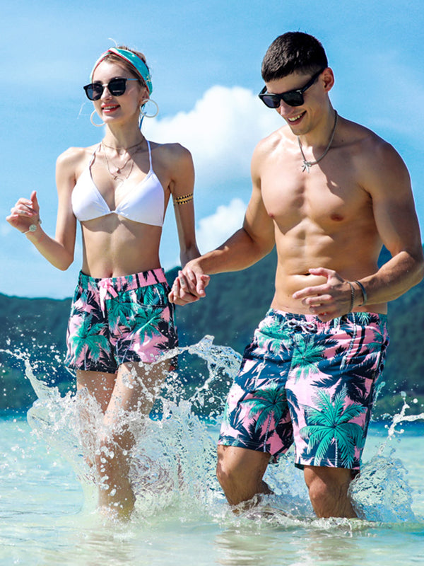 Couple's Pink Coconut Tree Beach Shorts - Women
