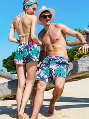 Couple's Pink Coconut Tree Beach Shorts - Men
