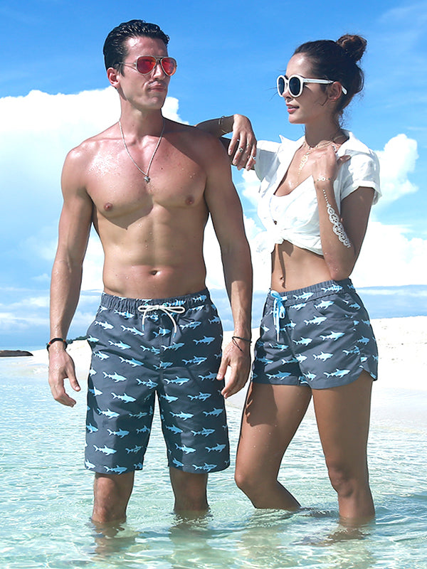 Couple's Sharks Beach Shorts - Women