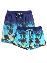 Couple's Coconut Tree Beach Shorts
