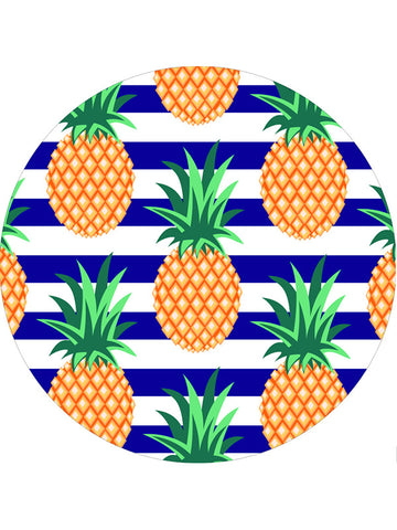 Fashion Fruits Printed Round Beach Towel Pineapple Navy Stripes