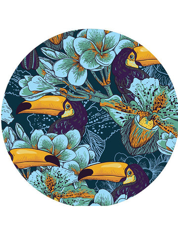 Trendy Tropical Flowers Pattern Round Beach Towel Toucan