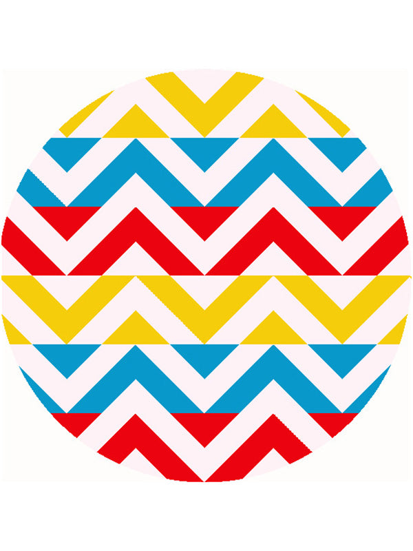 Vintage Pop Geo Pattern Round Beach Towel Wave Yellow Blue Red