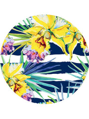 Trendy Tropical Flowers Pattern Round Beach Towel Navy Stripes Yellow