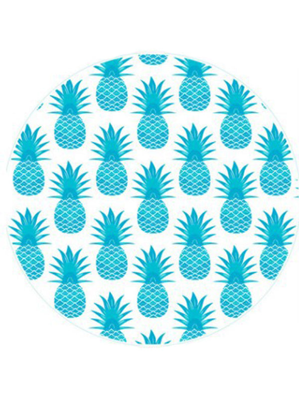 Fashion Fruits Printed Round Beach Towel Light Blue Pineapple