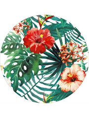 Trendy Tropical Flowers Pattern Round Beach Towel Red