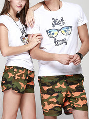 LikeBunny Couple's Orange Camo Swimwear
